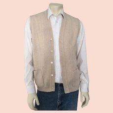 Vintage 1970s Oatmeal Cream Jantzen Menswear Sweater Vest L