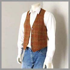 Vintage 1960s Reversible Menswear Vest Gold Plaid and Suedecloth S M
