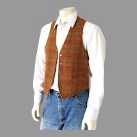 Vintage 1960s Reversible Menswear Vest Gold Plaid and Suedecloth S M