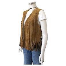 1970s Vintage Fringed Suede Vest Harvest Gold Unisex S M