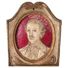 Vintage Edgar Allan Poe Oval Portrait Miniature Wood Composite No 5026