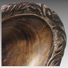 Vintage Primitive Carved Wood Bowl Oval