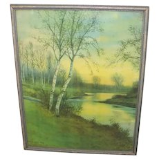 Vintage Late Winter Early Spring Landscape Print Birches Along a Stream by George Howell Gay