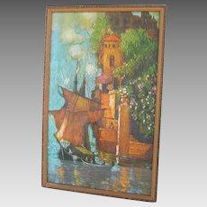 Vintage Print Sailing Ship in Exotic Port Orange Turquoise Green