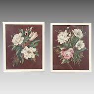 Vintage 1940s Set of Signed de Jonge Floral Prints with Chocolate Brown Backgrounds