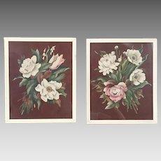 Vintage 1940s Set of Signed de Jonge Floral Prints with Chocolate Brown Backgrounds