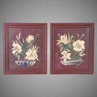 Vintage 1940s Pair of Turner Chocolate Brown Floral Prints Wall Decor Art