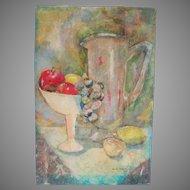Vintage 1963 Original Tissue Paper Collage Artwork Still Life Signed Maxine Tracewell