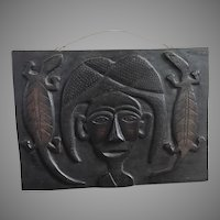 Old Blackened Indonesian Wooden Carved Figurine with Geckos Wall Hanging