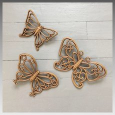 Vintage 1970s Light Brown Wicker look Bent Wood Look Set of 3 Butterflies Wall Decor
