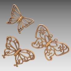 Vintage 1970s Light Brown Wicker look Bent Wood Look Set of 3 Butterflies Wall Decor