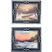Set of Two Vintage 1930s Winter Landscape Prints in Bordered Reverse Paint Frames