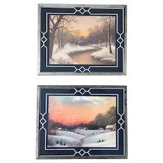 Set of Two Vintage 1930s Winter Landscape Prints in Bordered Reverse Paint Frames WINTER SALE