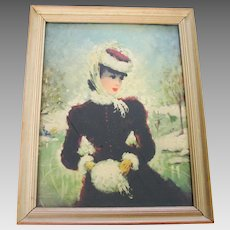 Vintage Framed Winter Print of a Victorian Lady At The Skating Pond WINTER SALE