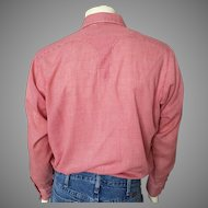 Vintage 1960s Rockmount Ranch Wear Tru-West Red White Gingham Cowboy Rockabilly Shirt