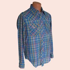 Vintage 1970s Cobalt Blue Woven Plaid Western Shirt Slim Tall