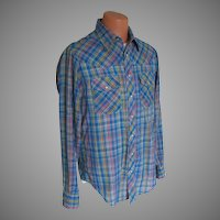 Vintage 1980s Cobalt Blue Woven Plaid Western Shirt Slim Tall