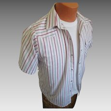 Vintage 1970s Red White and Blue Striped Cowboy Western Shirt Rockabilly VLV All American S