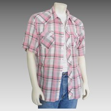 Vintage 1960s Wrangler White Black & Pink Plaid Summer Rockabilly Cowboy Western Shirt L XL