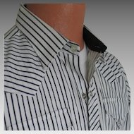 Vintage 1980s H Bar C Ranchwear White and Black Stripe Urban Cowboy VLV Shirt M L