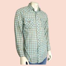 Vintage 1960s 1970s H Bar C Aqua & Orange Plaid Rockabilly Cowboy Western Shirt VLV