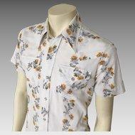 Vintage 1970s H Bar C Sheer Flower Stripe Cowboy Western VLV RAB Shirt M