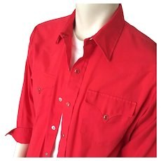 Vintage 1970s Poppy Red H Bar C Rockabilly Western Cowboy Shirt L