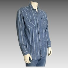 Vintage 1980s H Bar C Country Western Cowboy Shirt Blue Harlequin Jacquard Oxford  L XL