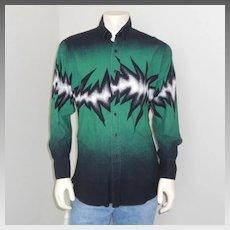 Vintage Early 1990s Brooks & Dunn Green Black White Lightening Electric Bolt Cowboy Shirt L