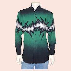 Vintage Early 1990s Brooks & Dunn Green Black White Lightening Electric Bolt Cowboy Shirt L