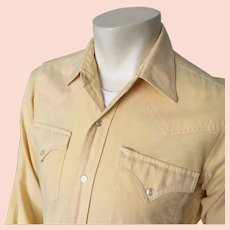 1980s Vintage Pastel Yellow Chambray Preppy H Bar C Western Shirt 15 35 S M