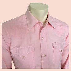 1980s Vintage Pastel Pink Chambray Preppy H Bar C Western Shirt 15 33 S M