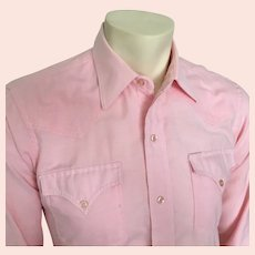 1980s Vintage Pastel Pink Chambray Preppy H Bar C Western Shirt 15 33 S M