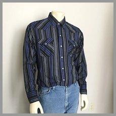Vintage 1980s Black Navy Blue Gray Vertical Striped Cowboy Western Shirt L XL