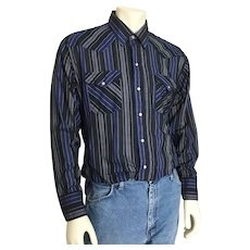 Vintage 1980s Black Navy Blue Gray Vertical Striped Cowboy Western Shirt L XL