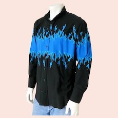 Vintage Early 1990s Brooks & Dunn Black Royal Blue Turquoise Flame Cowboy Country Western Shirt