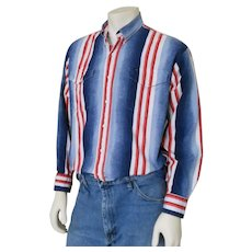 Vintage 1990s Red White and Blue Striped Roper Rodeo Cowboy Shirt 48 Chest