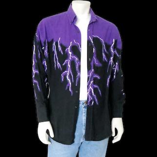 Vintage Early 1990s Brooks & Dunn Purple Black White Lightening Electric Bolt Cowboy Shirt L XL