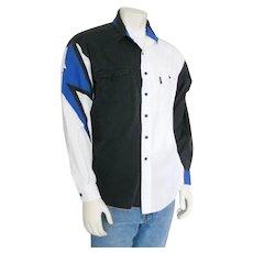 Vintage Late 1980s Early 1990s Brooks & Dunn Modern Cowboy Color Block Shirt White Blue Black L