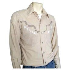 Vintage 1970s Authentic H Bar C Fancy Yoke Tan White and Brown Cowboy Western Shirt