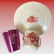 Davy Crockett Bascal Cup and Hazel Atlas Milk Mug and Saucer