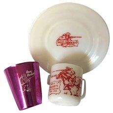Davy Crockett Bascal Cup and Hazel Atlas Milk Mug and Saucer