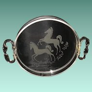Mid Century Lucite Tray - Twisted Handles - Etched Stylized Horses