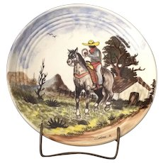 Bauer Ringware Plate Handpainted by Galan