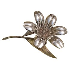 Plame Spain Silverplate Ashtrays- Flower Centerpiece with Hidden Petal Ashtrays