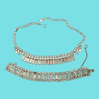 Weiss Demi Parure Baguette Rhinestone Necklace and Bracelet