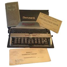 Antique  1914 Bennett Typewriter