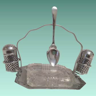Chromium Plated Condiment Caddy with glass dish -Salt & Pepper - Spoon  Made in England