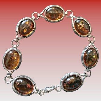 Vintage Amber and Sterling Bracelet