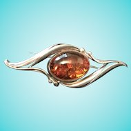 Vintage Amber and Sterling Pin Brooch